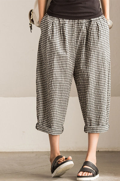 Art Causel Black White Grid Wide-legged Pants Linen Causel Women Clothes K988A