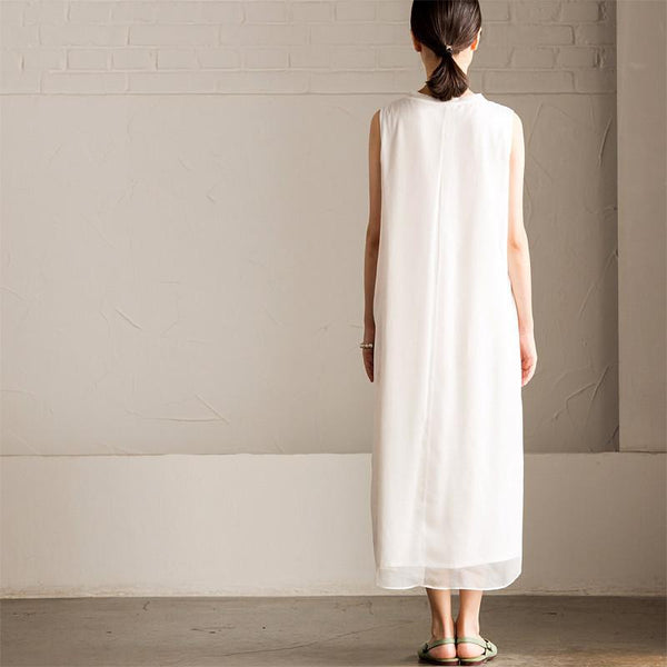Art Embroidered White Simple Long Dress Summer Women Dress Q295A - FantasyLinen