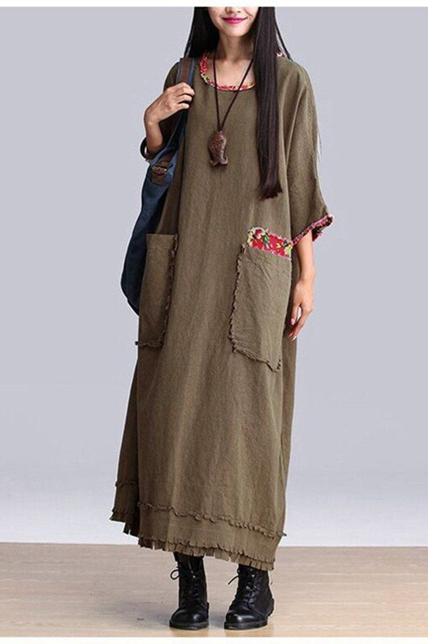 Art Big Pocket Maxi Size Casual Loose Long Dresses Women Clothes Q2601A - FantasyLinen