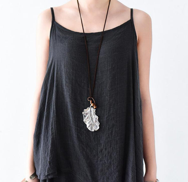 Art Style Leaves Metal Vintage Long Cowhide Rope Necklace Women Accessories N1102A - FantasyLinen