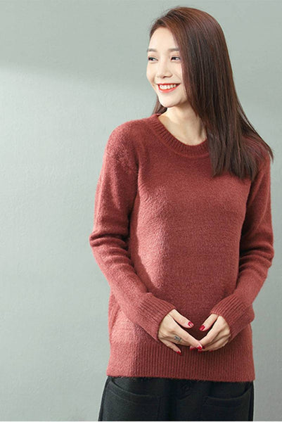 FantasyLinen Basic Loose Short Pullover Sweater, Thick Sweater For Winter SZ845