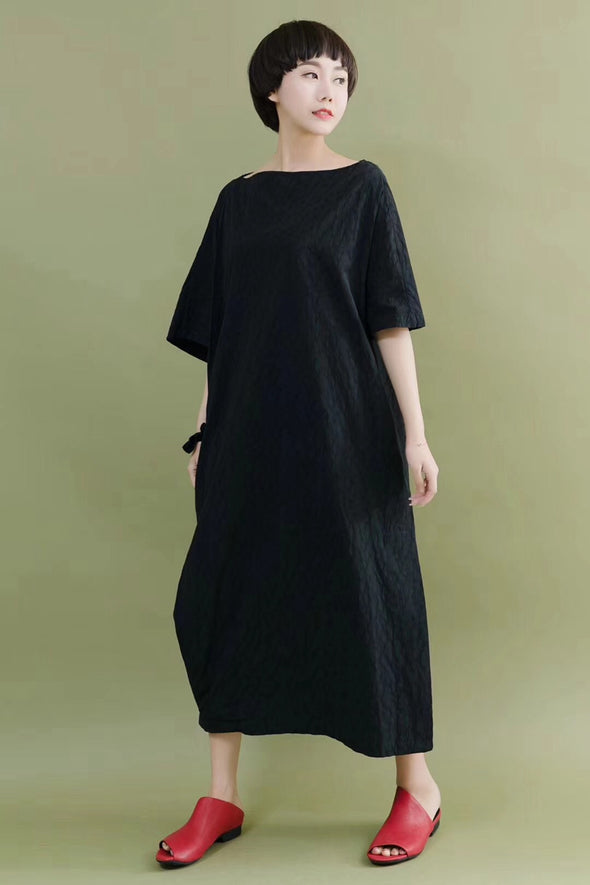 FantasyLinen Bat Sleeve Casual Loose Oversize Women Clothes Black Fitting Long Dresses 2096