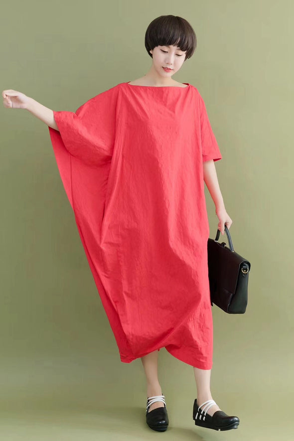 FantasyLinen Bat Sleeve Casual Loose Oversize Women Clothes White Fitting Long Dresses 2096