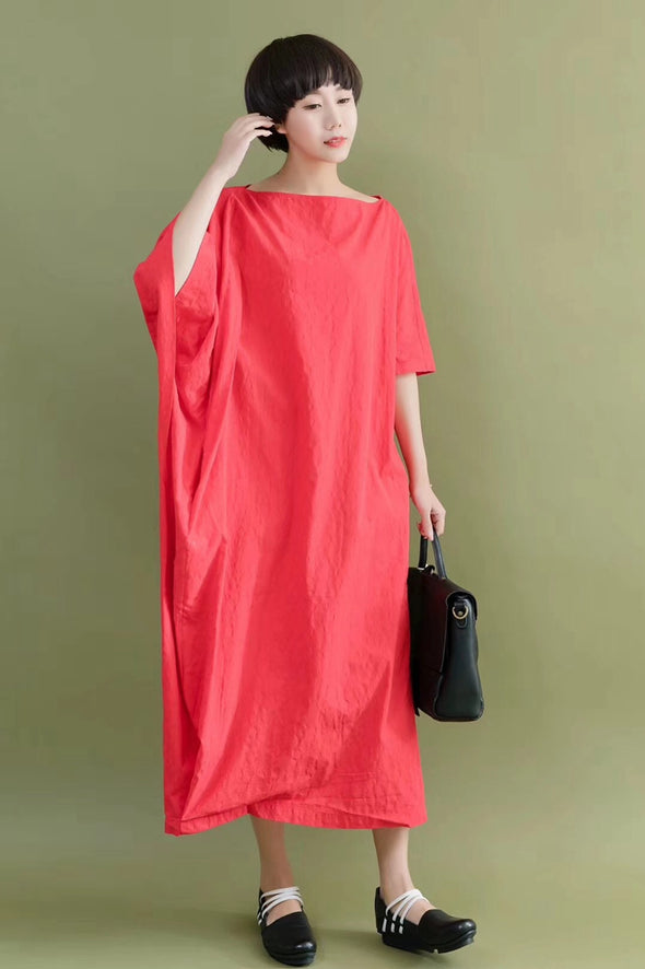 FantasyLinen Bat Sleeve Casual Loose Oversize Women Clothes Red Fitting Long Dresses 2096