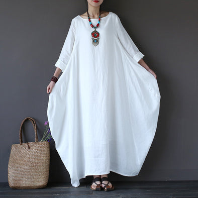White Bat Sleeve Causel Long Dress Plus Size Oversize Women Clothes 1638