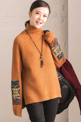 Bat Sleeve Commuting Embroidered Cotton Loose Sweater