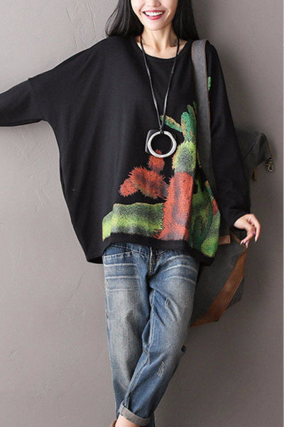 Bat Sleeve Loose Round Neck Fleece Big Size Loose Top Women Clothes F2003A
