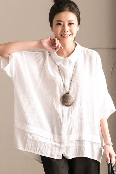 White Office Lady Casual Bat Sleeve Linen Women T-shirt Summer Tops C1131A