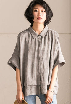 Gray Office Lady Casual Bat Sleeve Linen Women T-shirt Summer Tops C1131A