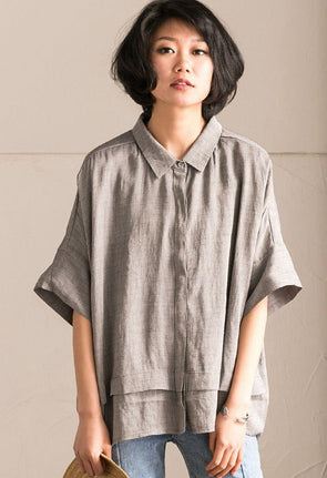 Gray Office Lady Casual Bat Sleeve Linen Women T-shirt Summer Tops C1131A - FantasyLinen