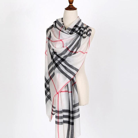 Big Grid Wool Art Warm Long Scarf Width Shawl Women Accessories J1101A