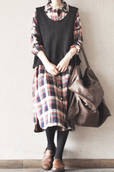Big Plaid Cotton Casual Loose Long Shirt Two Pocket Dress Tops Women Clothes S0015A