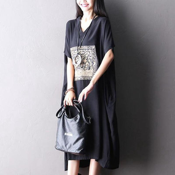 Big Size Casual Loose Long Dress Women Clothes Q2113A - FantasyLinen