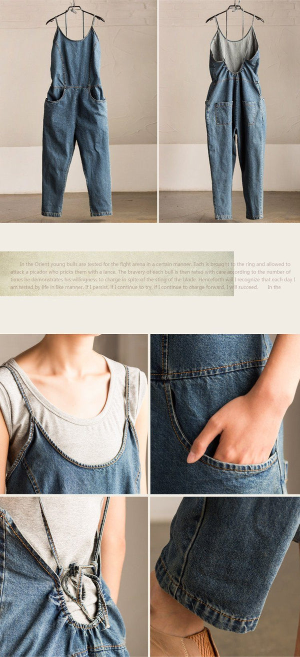 Causel Cowboy Jeans Overalls Loose Pants Pocket Trousers Women Clothes - FantasyLinen