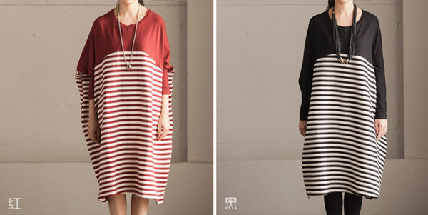 Big Size Strap Joining Together Long Sweater Cotton Top Loose Dress Women Clothes - FantasyLinen