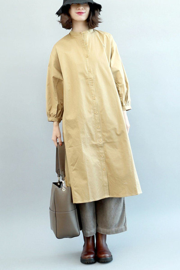 FantasyLinen Loose Shirt Dress, Stand Collar Winter Long Shirt For Women Q4010 - FantasyLinen