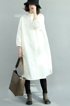 FantasyLinen Loose Shirt Dress, Stand Collar Winter Long Shirt For Women Q4010