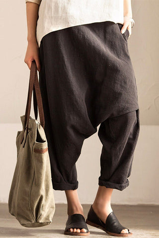 Gray Art Causal Cotton Linen Trousers Women Clothes K2237A