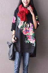 Black Big Flower High Collar Fleece Korean Loose Long Top Women Clothes F2001A