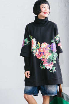 Black Big Flower High Collar Top Fleece Women Clothes R2388A