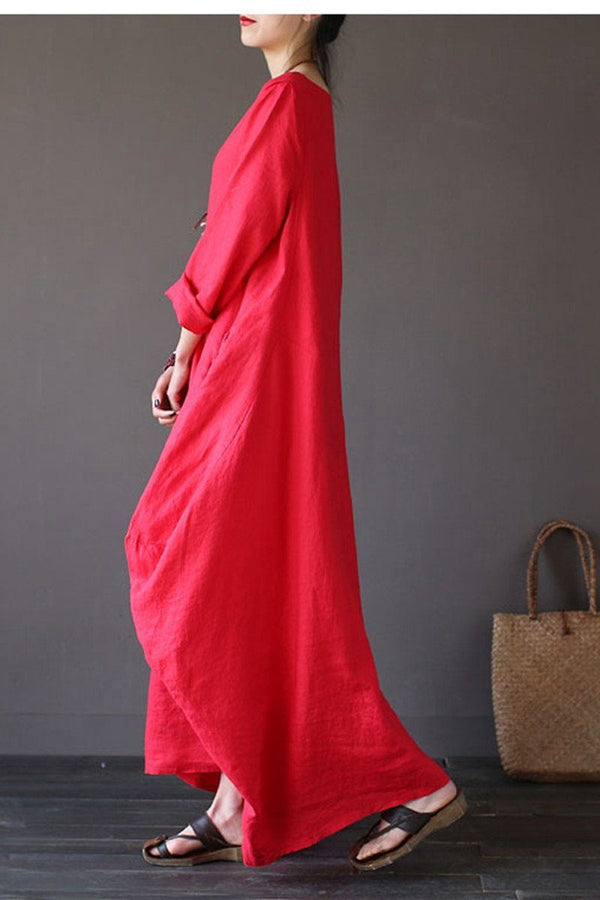 Red Bat Sleeve Causel Long Dress Plus Size Oversize Women Clothes 1638 - FantasyLinen
