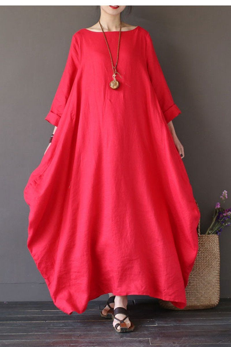 Red Bat Sleeve Causel Long Dress Plus Size Oversize Women