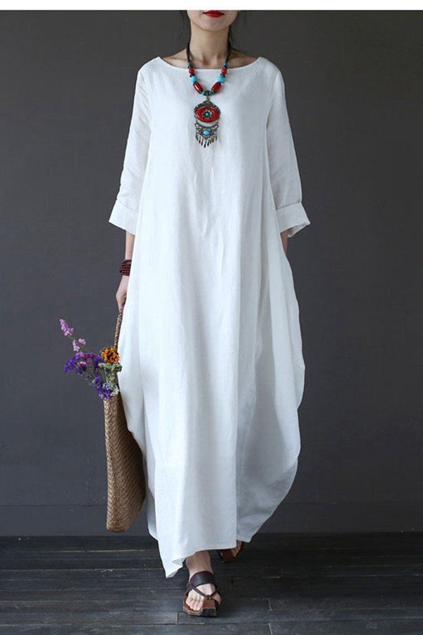 White Bat Sleeve Causel Long Dress Plus Size Oversize Women Clothes 1638 - FantasyLinen