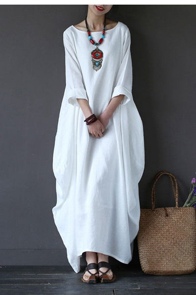 White Bat Sleeve Causel Long Dress Plus Size Oversize