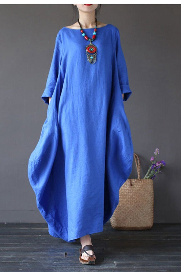 Blue Bat Sleeve Causel Long Dress Plus Size Oversize Women Clothes 1638 - FantasyLinen