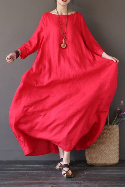 Red Bat Sleeve Causel Long Dress Plus Size Oversize Women Clothes 1638