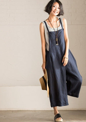 Art Causal Cotton Linen Blue/Rice Overalls Women Clothes