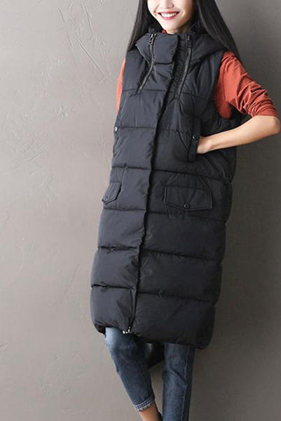 Black Big Pocket Down Vest Winter Coats S2802A