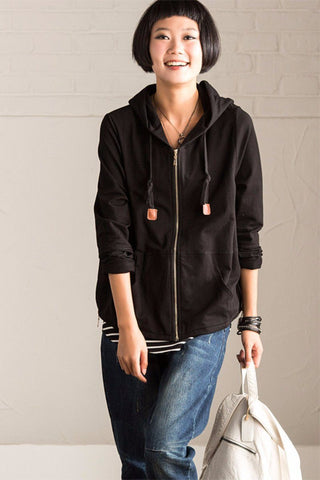 Black Casual Hood Short Coat Women Tops W023A
