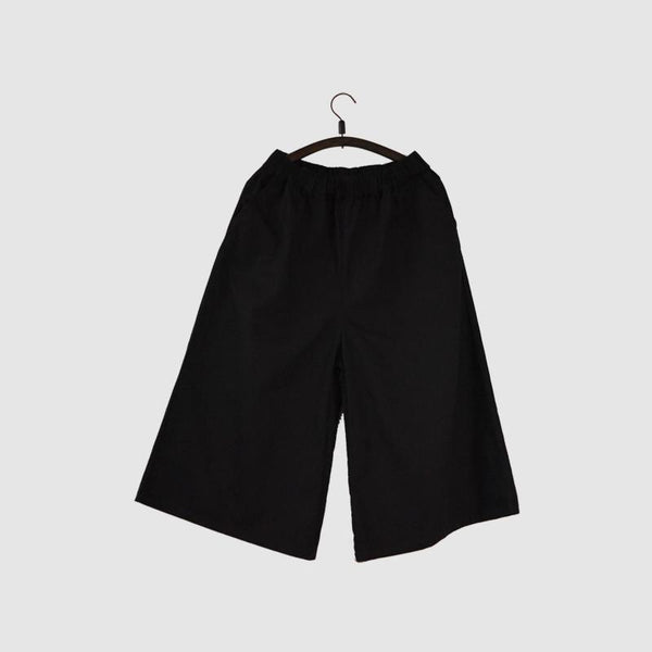 Black Culottes Wide-legged Pants Causel Women Clothes - FantasyLinen