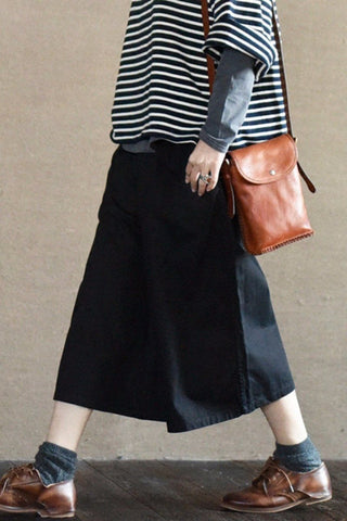 Black Culottes Wide-legged Pants Causel Women Clothes