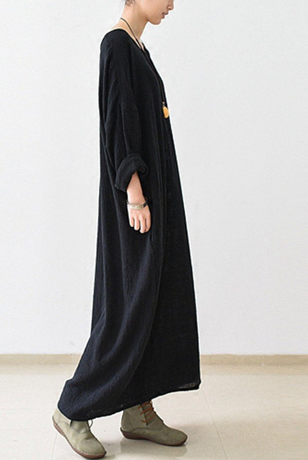 2018 Fall Thin Black Linen Dresses Long Sleeve Linen Caftans Gown - FantasyLinen