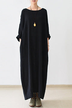 2018 Fall Thin Black Linen Dresses Long Sleeve Linen Caftans Gown