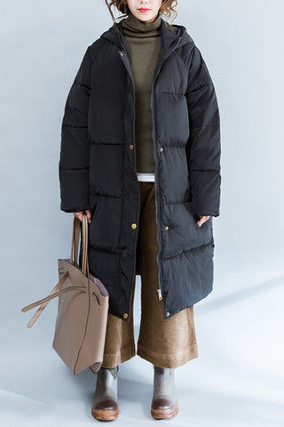 Black Fashion Down Jacket Maxi Size Winter Coat