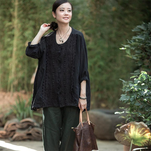 Black Lace Block Shirt Casual Clothes for Women C6631B