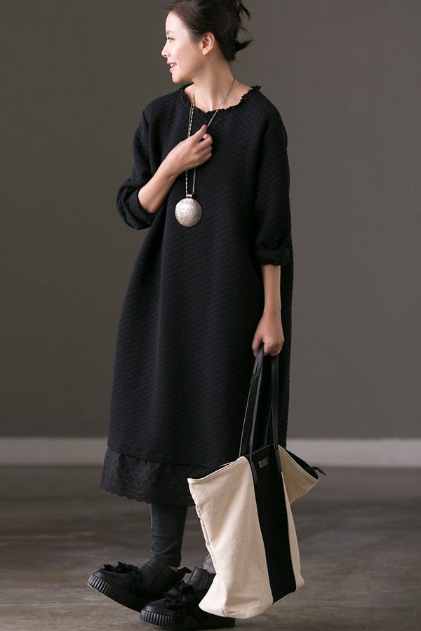 Long Sleeve Winter Black Long Dresses For Women - FantasyLinen