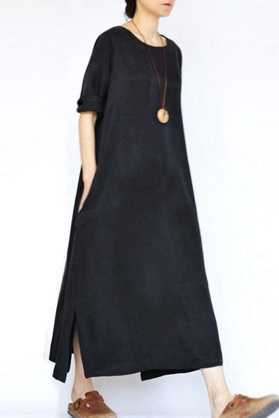 Fall Thin Black Heavy Copper Ammonia Silk Dresses Long Sleeve Caftans Gown