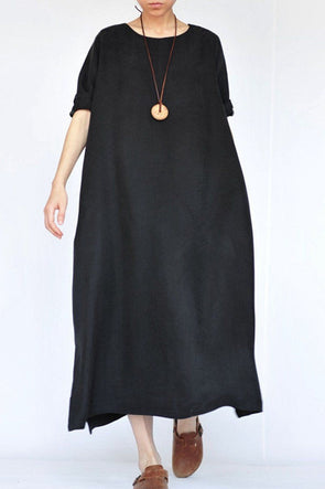 Summer Thin Black Heavy Copper Ammonia Silk Dresses Caftans Gown - FantasyLinen