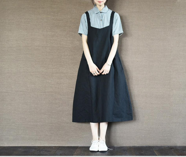 Black Suspender Skirt Long Dress Oversize Causel Women Clothes - FantasyLinen