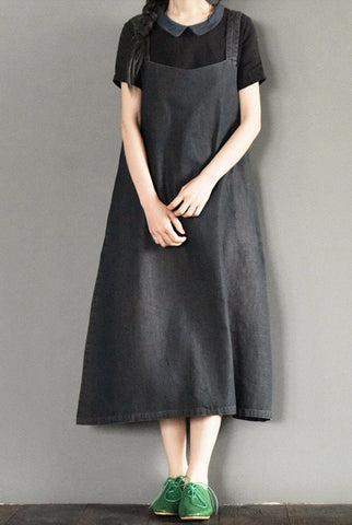 Black Suspender Skirt Long Dress Oversize Causel Causel Outfits Women Clothes L920