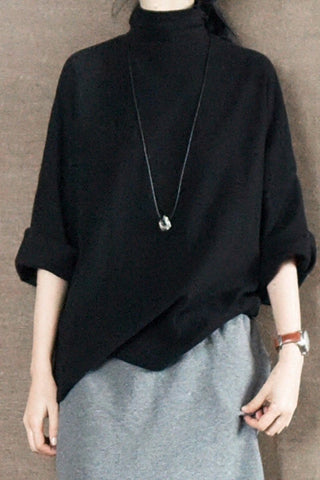 Black Turtleneck Sweater Shirt Causel Women Clothes