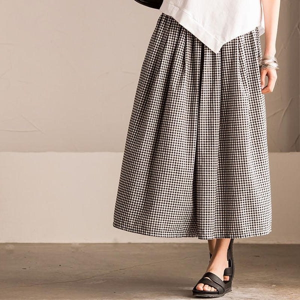 Black White Squares Wide-legged Pants Linen Causel Women Clothes