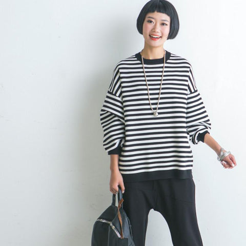 Black White Stripe Loose Sweater Cotton Top Casual Knitwear Women Clothes Z819A
