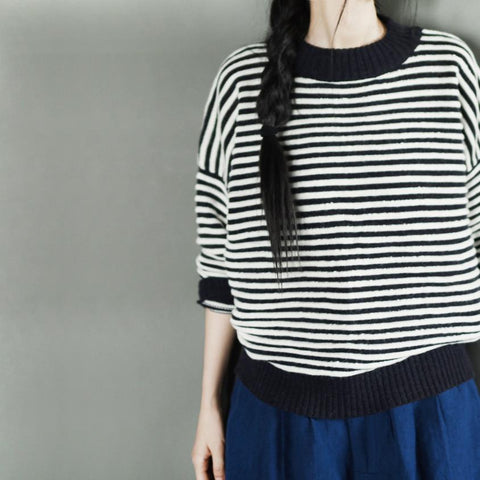 Black White Stripe Loose Sweater Cotton Top Casual Women Clothes LR222
