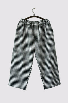 Black and White Squares Pants Linen Causel Women Clothes