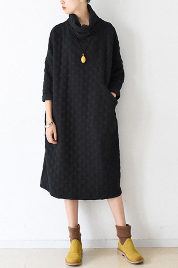 Fall Warm Black Cotton Wave Point Dresses Long Sleeve Winter Clothes - FantasyLinen